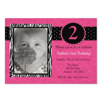 Girls Pink Zebra Personalized Birthday Invitation