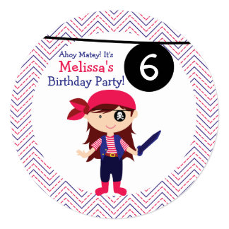 Girls Pirate Any Age Birthday Party Card