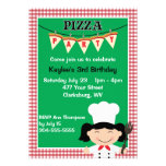 Girl's Pizza Party Personalized Announcements