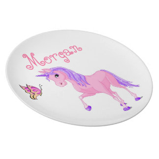 Girls plate, butterfly, unicorn melamine plate