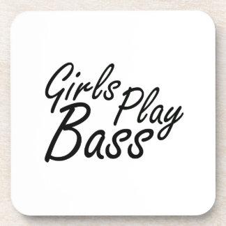 Girls play Bass black text Beverage Coaster