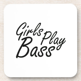 Girls play Bass black text Drink Coasters