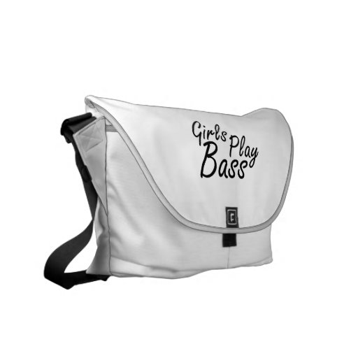Girls play Bass black text Courier Bags