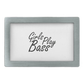 Girls play Bass black text Rectangular Belt Buckle