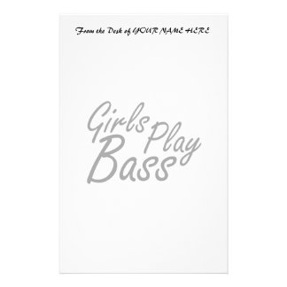 Girls play Bass black text Stationery