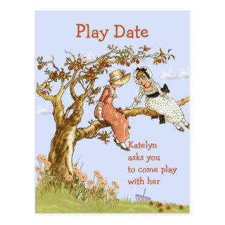 Girl's Play Date Invitation Sweet Vintage Girls Postcard