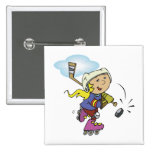 Girls Play Hockey Too 2 Inch Square Button
