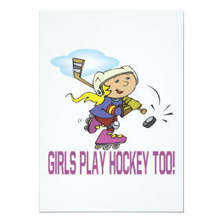 Girls Play Hockey Too Card