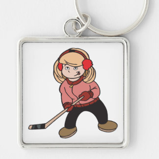 Girls Play Hockey Too Keychain