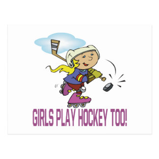 Girls Play Hockey Too Postcard