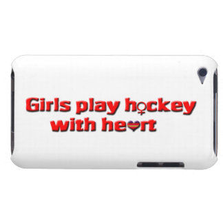Girls play hockey with heart!/Female Hockey Player iPod Case-Mate Cases