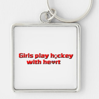 Girls play hockey with heart!!-Female Symbol Silver-Colored Square Keychain