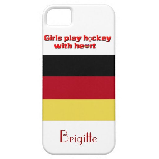 Girl's Play Hockey with Heart!-German flag+Name iPhone SE/5/5s Case
