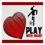GIRLS PLAY WITH HEART SOCCER POSTER
