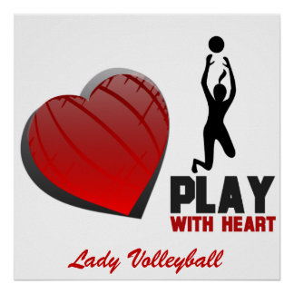 Girls Play With Heart Volleyball Poster