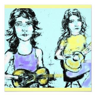 girls playin' acoustic card