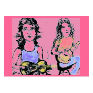 girls playin acoustic large business card