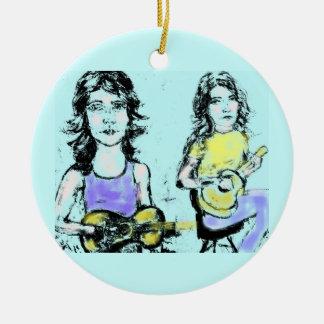 girls playin' acoustic christmas ornament