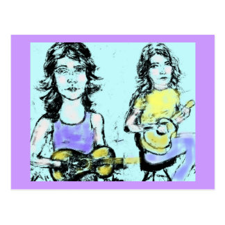 girls playin acoustic postcard