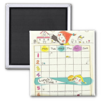 Girls playing by school and timetable 2 inch square magnet