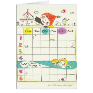 Girls playing by school and timetable greeting card