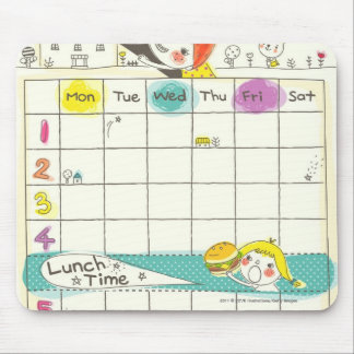 Girls playing by school and timetable mouse pad