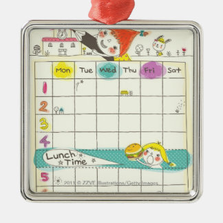 Girls playing by school and timetable square metal christmas ornament