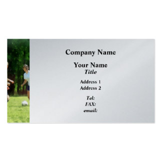 Girls Playing Soccer Business Card Template
