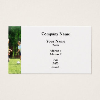 Girls Playing Soccer Business Card