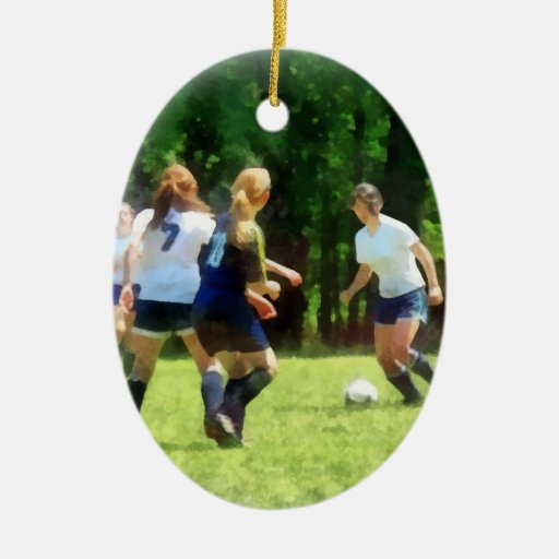 Girls Playing Soccer Christmas Ornament