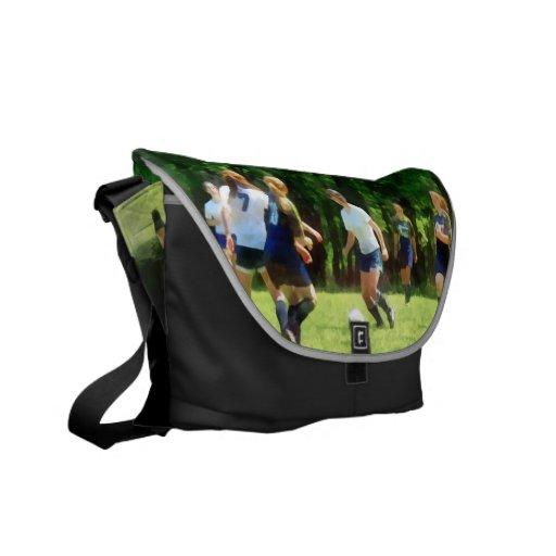 Girls Playing Soccer Messenger Bags