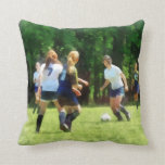 Girls Playing Soccer Pillow