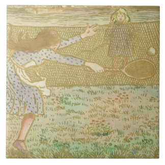 Girls Playing Tennis, from 'Woodcuts in Line and C Ceramic Tile