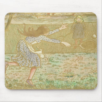 Girls Playing Tennis, from 'Woodcuts in Line and C Mouse Pad