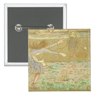 Girls Playing Tennis, from 'Woodcuts in Line and C Pinback Button