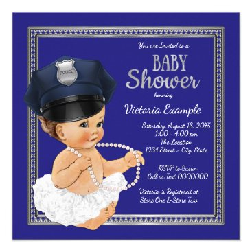 Toddler & Baby themed Girls Police Baby Shower Invitations