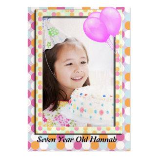Girls Polka Dot Birthday Photo Card Business Card Templates
