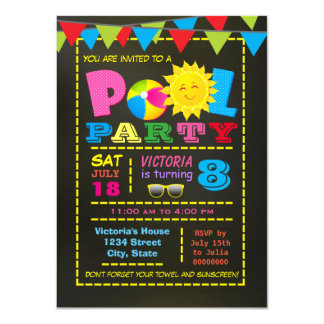 Girls Pool Birthday Party Card