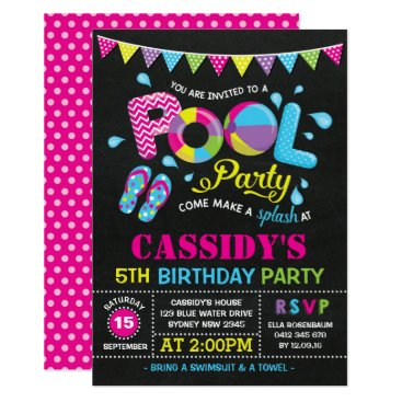 Beach Themed Girls Pool Party Birthday Chalkboard Invitation