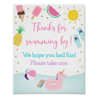 Girls Pool Party Birthday Favor Sign