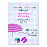 Girl's Pool Party Birthday Invitation