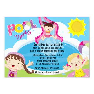 "Girls Pool Party Birthday 5"" X 7"" Invitation Card"