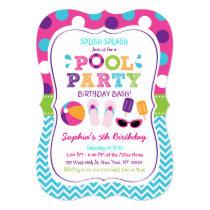 Girls Pool Party Birthday Invitations