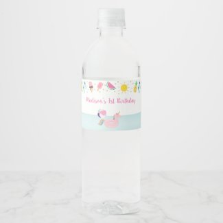 Girls Pool Party Birthday Water Bottle Label