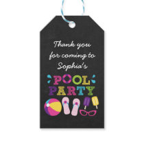 Girls Pool Party Chalkboard Party Favor Gift Tags