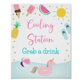 Girls Pool Party Cooling Station Birthday Sign