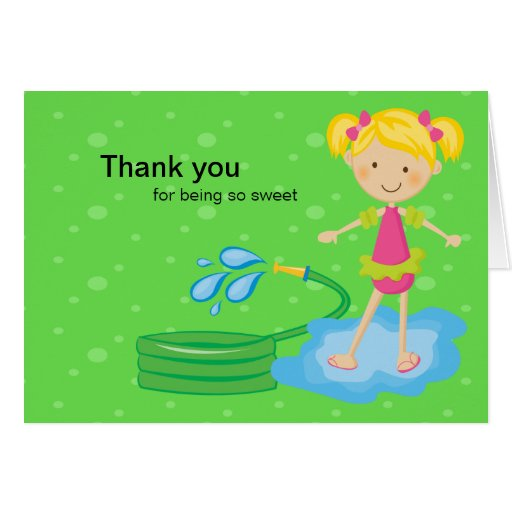 Girls Pool Party Hose Thank You Card