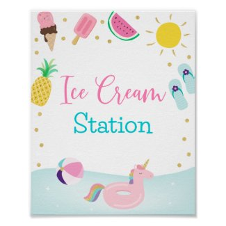 Girls Pool Party Ice Cream Station Birthday Sign