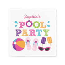 Girls Pool Party Personalized Napkins