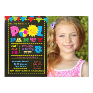 Girls Pool Party Pool Birthday Party Card